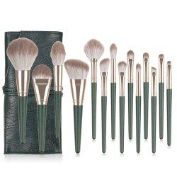 weiche natürliche Grün-Verfassungs-Pinsel-Set-Berufsschönheits-kosmetische Verfassungs-Pinsel-Sets des Haar-14PCS