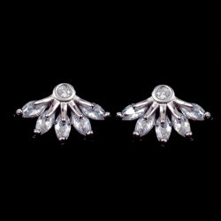 Le Style coréen goujon en forme de fleur en argent sterling Zirconia Cubique Earrings