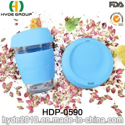 كوب شاي بكوب زجاجي خالٍ من مادة BPA بسعة 12 أونصة مع جراب السيليكون وغطاء (HDP-0590)