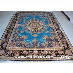 9X12 Big grand à la main en soie bleu de tapis persans à vendre