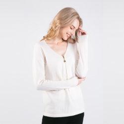 Mode Femmes 100% cachemire avec la moitié de la poitrine à glissière Pull