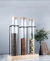 Pot d'affichage de la décoration en verre bouteille de tube avec étagère
