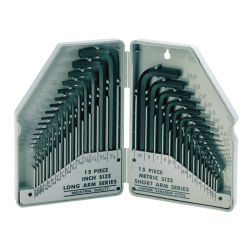 Chiave di Allen stabilita di tasto Hex del Cr-v 30PCS di SAE/Metric per gli strumenti della mano