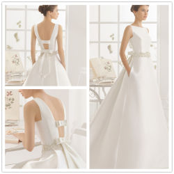 2017 Hotsale Simple Jewel encolure satin robe de mariage (Dream-100012)