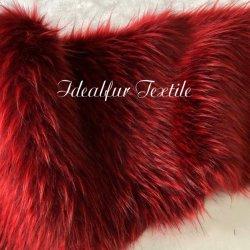 Deux tons rouge de luxe Jacquard fausse le raton laveur Col de Fourrure