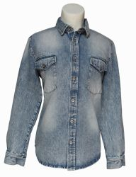 A medio hombres Denim Denim manga larga camisa de estilo occidental