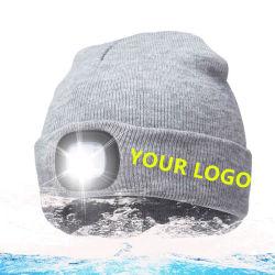 Nuit d'hiver Scout torche lumineuse à LED rechargeables USB étanche Beanie Hat tricotés pour la pêche, travail, camping, chasse