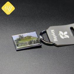 Catena chiave del metallo rotativo promozionale con il marchio della stampa