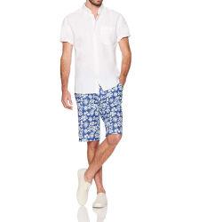Camicia button-down in lino a manica corta da uomo′ S Standard Fit