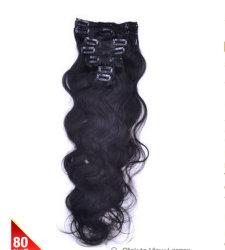 """Estar en la gran demanda! Bhf-0418 22""""7 Piezas Set Deluxe cuerpo ola Clip en Indian Remy Extensiones de Cabello Negro Natural (#1B)"""