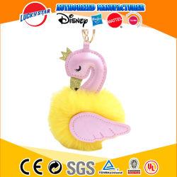 Bonitinha Pompons Swan Keychains para mulher mala do carro Keyring fofo de peles de coelho Ball Flamingo Keyholder Bugigangas Jóias Pendente Dom