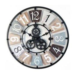 ساعة معدنية ميكانيكية ضخمة ذات طبقة معدنية معدنية ساعة حائط معدنية