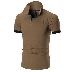 Das T-Shirt der Männer, das europäisch sind und die amerikanische gestickte Kitz-Brust-Markierung Cuffs beiläufiges Polo-Hemd der Männer