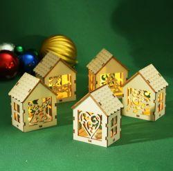 Monte a luz de LED Casa artesanato em madeira dom interior bricolage Decoração Decoração de Natal