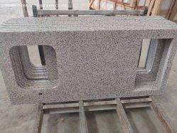 A fábrica de vendas directas em mármore/Quartz Bancada Pre-Fabricated Downtown granito cinza vaidade tops para banheiro