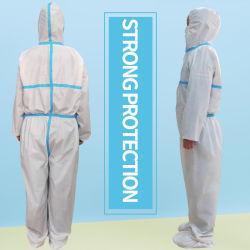 SMS SF PP+PE Combinaison blanche robe chirurgicale de protection de l'isolement avec des vêtements de protection de capot FR14126 Robes de gants de chirurgien de la clinique