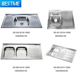 أدوات المطبخ ذات الطراز الروسي أداة المطبخ المنزلي 201 مرآة الفولاذ المقاوم للصدأ Satin Kitchen Sin (BS-341-201M)