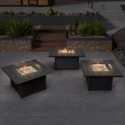 Evento Al Aire Libre Muebles de aluminio elegante Fire Pit Table Gas con Glass Bead