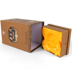 Firstsailの工場大きさのふたおよびベースボックスの贅沢な絹によって並べられるアルコール飲料のウィスキーのTequliaのギフトのワインボックス包装