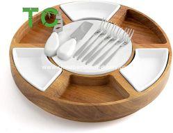Comercio al por mayor la madera de acacia de la Junta de queso el Queso y un plato de servir con 2 caras de la placa de mármol, el 3 de 2 cuencos de cerámica vajilla de cerámica de 6 horquillas