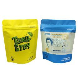 Support personnalisé haut de la cornière de bas de l'APL en plastique Les feuilles de métal l'emballage alimentaire la preuve de l'enfant Ziplock pochette de mauvaises herbes en Mylar Cookies Sac souple