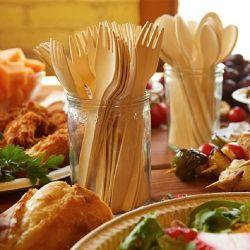 2021 conjuntos de talheres de mesa de madeira compostáveis biodegradáveis Utensílios de Cozinha descartáveis