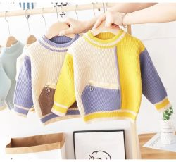 Vêtements bébé vêtements bébé vêtements enfants Les enfants une poche zippée la correspondance des couleurs pull Knitwear nouveau-né de l'usure