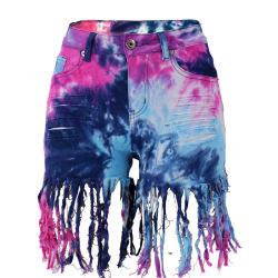 La nueva mujer pantalones vaqueros pantalones cortos vaqueros Skinny cintura alta Damas Denim Jeans con borla