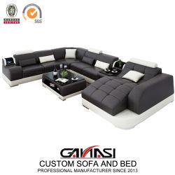 Forme de U moderne salle de séjour de loisirs meubles canapé en cuir