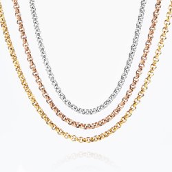 Plaqué or classique en acier inoxydable de la chaîne Belcher Rolo Collier Bracelet Chaîne de cheville Mode bijoux