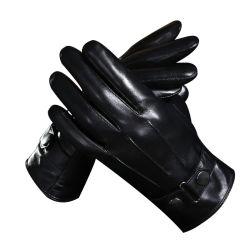 Cálido invierno vestir de moda Guante de cuero auténtico Mens Guantes de cuero forrado de conducción de la pantalla táctil