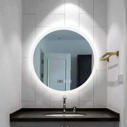 Hotel Casa de Banho Privada Living decoração do quarto Round Espelho LED backlit montado na parede espelho com relógio, Antifog, luminosidade e sensor de toque