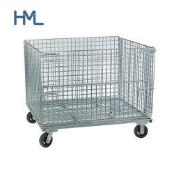 Heavy Duty pliable en acier pliable Wire Mesh conteneur avec des roues