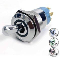Interruttore a levetta illuminato in metallo, diam. 16 mm con illuminatore anulare