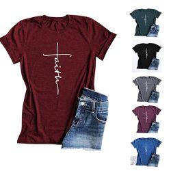 Pullover-Short-Sleeved runde Stutzen-losen Frauen der europäischen und amerikanischen Sommer-Frauen Short-Sleeved Shirt-Bluse der gedruckten
