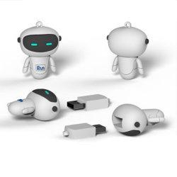 Bonita forma de robô engraçado Unidade Flash USB em PVC personalizado o logotipo personalizado USB3.0 USB2.0 4GB, 8GB, 16GB, 32GB, 64GB