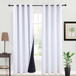 Los paneles de aislamiento térmico de 2 blancos los pasamuros de cortinas y cortinas para dormitorio/salón de 50 a 63 pulgadas Cortinas opacas