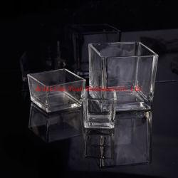 ホーム装飾の多重サイズの透明な正方形のガラス蝋燭ホールダー