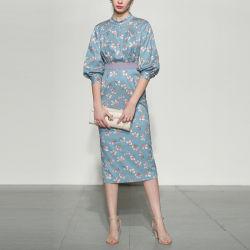 O design mais elegante de moda Floral de tricotar Senhoras Dress Noite vestido de mulher