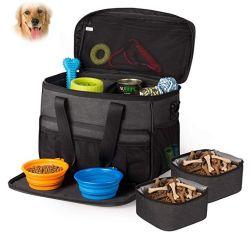 Mala de viagem Pet Tote Saco Organizador para cães Cães Viagem Tote bag bolsa transportadoras comida para cão de estimação Taça dobrável de Silicone