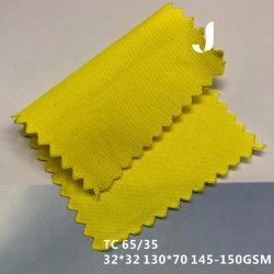 Kundenspezifischer Hemd-Gewebe-Lieferant Baumwoll-Polyester-Twill-Gewebe im Tc-65/35 in Hivi gelbes 32*32/130*70 145-150GSM
