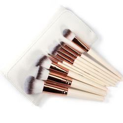10pcs Premium en fibre synthétique Cruelty-Free poils de pinceau de maquillage cosmétiques pour le mélange de fondation Blush Concealer Eye Shadow Voyage Sac de maquillage inclure
