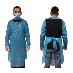 Blauer wasserdichter Großhandelsplastik-CPE-Wegwerfkleid mit langer Hülse
