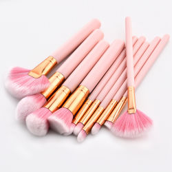 Qualitäts-erröten hölzerne Griff-Rosa-Farben-Verfassungs-Pinsel-Sets für Basis-Puder Gesichts-Lippenaugen-Pinsel-Installationssätze