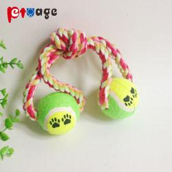 Het Kauwen van de Levering van de hond van het Katoenen van de Bal van het Tennis van het Stuk speelgoed het Speelgoed Huisdier van de Kabel