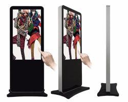 Fußboden, der Note LCD-Bildschirmanzeige Innendigital Sinage bekanntmachend steht