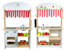 New Design Wooden Toys Multi Function Shop and Kitchen