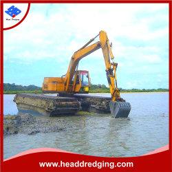 Zappatore anfibio idraulico dell'escavatore del cingolo che fa galleggiare 15 20 25 30ton che dragano con il pontone per l'estensione lunga del braccio della palude dell'area umida della palude e della palude