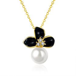 K ذهبية مطلية ذهبية اللؤلؤ الطبيعي النساء أزياء عقد مجوهرات