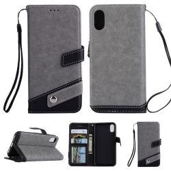 Capot arrière du téléphone de luxe en cuir pour iPhone x